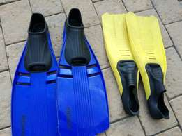 Swimming Flippers For Sale 2 Pairs Sizes 2.5 - 3.5 UK & 5 -6 UK