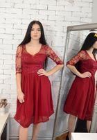 0ae7ce5f250b76 Szyfonowa bordowa sukienka, haft L-XL