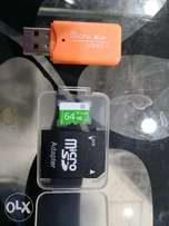 Sd card 64 gb free tf adapter and usb Adapter