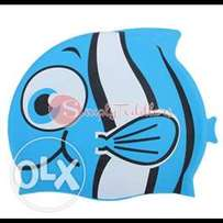 Tinksky Cartoon Fish Shaped Swim Cap Silicone Swimming Hat for Kid (Bl
