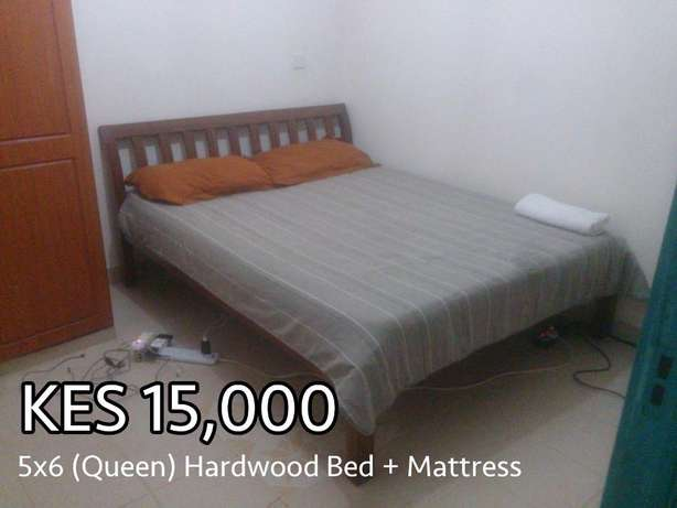 5x6 (Queen size) Wooden Bed and Mattress Roysambu - image 1