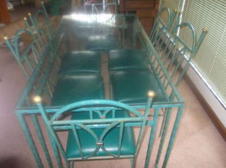 Wrought Iron Glass top table with 6 x chairs Roodepoort - image 1