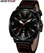 Ristos men's wrist leather watch,battery operated at 3000ksh.
