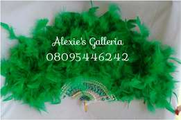 "Brides n Queens ""Emerald Diva"" Green Feathers Bridal Hand-fan"