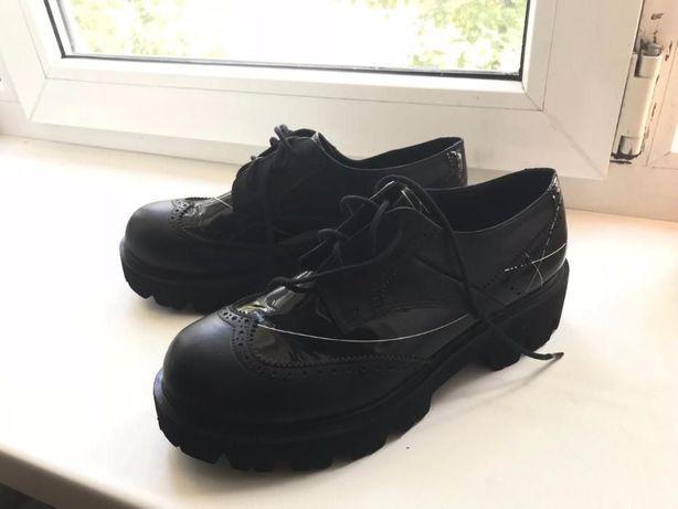 Женские туфли - оксфорды из НАТУРАЛЬНОЙ кожи на тракторной подошве Харьков  - изображение 1 87225b59e3f