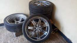 295/35R24 Chrome finish Alloy Rims with tyres for Toyota VX.