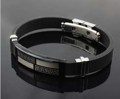 Stainless Steel and Silicone Mens Bracelet