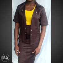 brown jaket & skirt made in nigeria