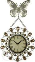 Butterfly Metal wall clock with crystal