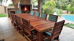 NEW Wooden Patio Furniture - Dining Table, 10 seater - Teak Outdoor