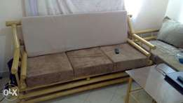 Bamboo 3 seater with glass table