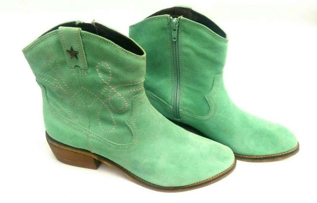 ed564e76dd8e Шикарные замшевые ботинки мятного цвета, казаки, cowgirl, ankle ...