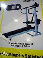 Non electric treadmill with stepper