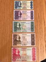 Complete set of SA bank notes from the 80's