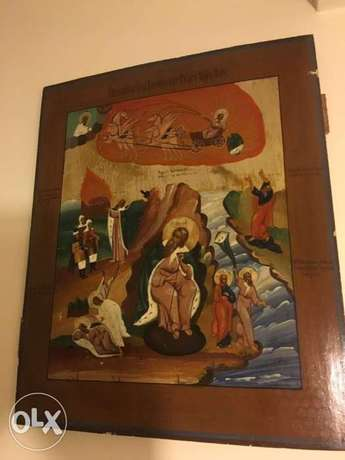 antique rare big Russian icon of the life of St Elijah 19th century