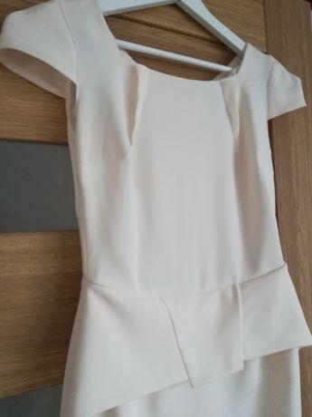 886033d479 Sukienka elegancka wizytowa koktajlowa z baskinka Kremowa ecru j Zara  Krotoszyn - image 1