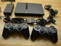 Slim ps2 full set chipped with 2 controllers