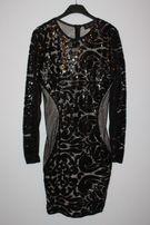 c824963741 sukienka S M cekiny czarna nude sylwester karnawał beż 36 38