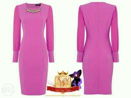 Cerise Bodycon Dress with a Detailed Neckline