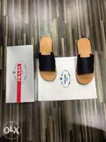 Prada Leather Slippers Black and brown