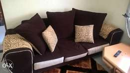 5seater brown suede sofa set.