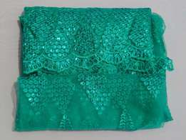 Fayrouz (Teal) Green French Sample Lace - 3 yards