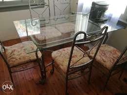 Urgent sale. Glass and Iron dining room table