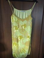 c213d02dea nowa sukienka ZARA M 38 żółta sylwester cekiny pastelowa koraliki tiul
