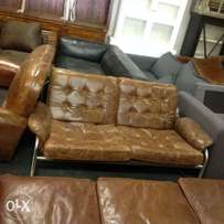 Brand new brown leather 2 seater chair