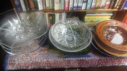 Large platters and bowls and cake stands