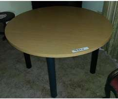 Round Wooden Tables with Steel Legs