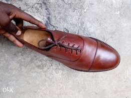 Coffee brown leather Oxford men shoe