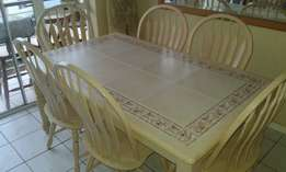 6 seater Dining set with side server and wine rack.