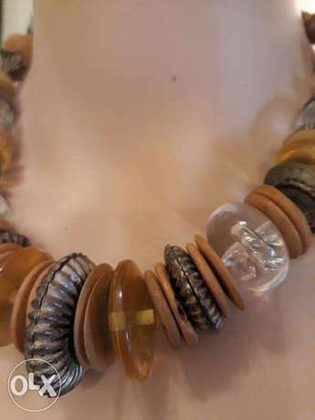 Vintage 70's Brass, Glass & Wooden Disc Beads Retro Necklace