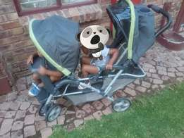 Twin Pram and travelling cord