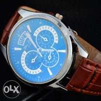 PU leather Men's luxury casual fashion wristwatch
