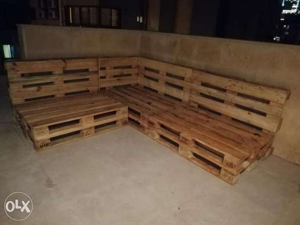 Corner Pallet new outdore set Creative wood جلوس طبالي خشب زاوية