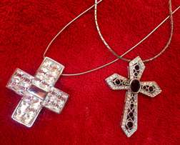 2 Beautiful Cross Necklaces with decorative jewels