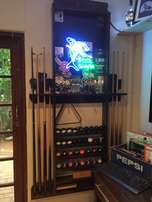 reduced Pool Que Rack With Neon Sign Make An Offer