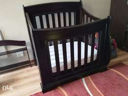 Cherry Wood Sleigh cot set converts into 3/4 bed ,compactum & shelf