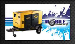 10kVa - 60kVa Mobile generators and stand by generators for sale