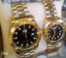 Rolex Couple Gold Wristwatch -black dial