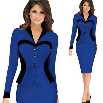 Women Longsleeve Turn Down Collar Elegant Lapel Patchwork OL Dress Blu Nairobi CBD - image 2