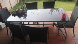 Six Seater Patio Set Glass Table