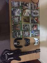 xbox 360 games controlers guitar and charger
