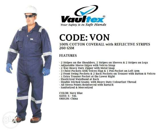 CodE:vOn,100%cOTTon cOVeRaLL wITH ReFlecTIVe strIPEs- 260GsM