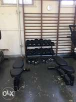 Rubber and Cast Iron Dumbell set