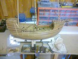 Scale model wooden sailing ship
