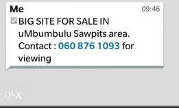 BIG SITE FOR SALE in Sawpits area around Adams, uMbumbululu