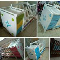 Baby cots with Chest of Drawers plus Free Matress